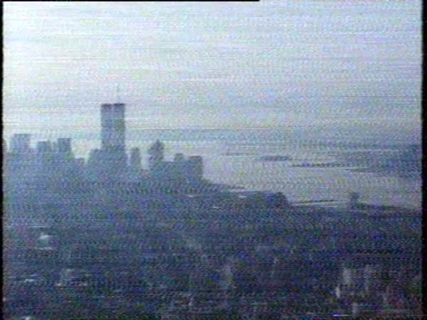 Damaged footage from the Empire State, Twin Towers, 80's Royalty-free stock video