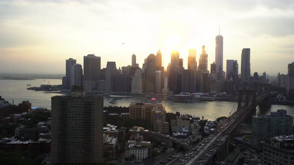 Wide shot of high-rise buildings in New York City, USA Royalty-free stock video