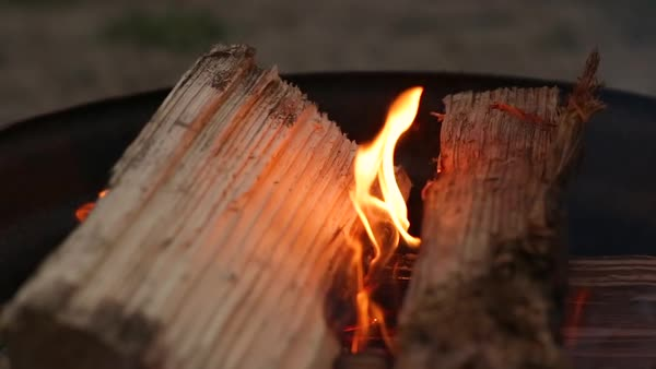 Closeup Of Campfire In Fire Pit On Beach (Slow Motion) Royalty-free stock video