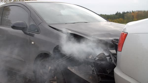 Close up of damaged car after road accident Royalty-free stock video