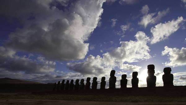 Timelapse showing numerous moai statues against cloudy sky Rights-managed stock video