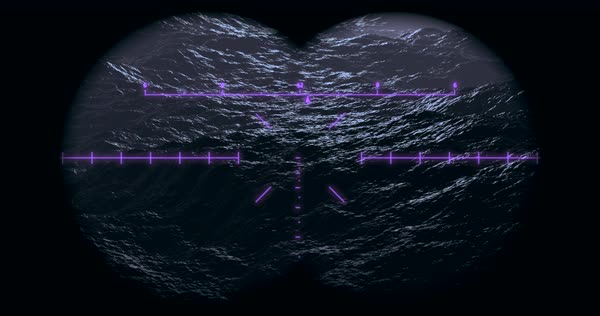 Binocular night vision view of big ocean storm waves moving towards the  viewer stock footage