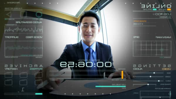 Portrait of professional Asian Chinese businessman using online advanced  video call streaming motion graphics communication technology in the