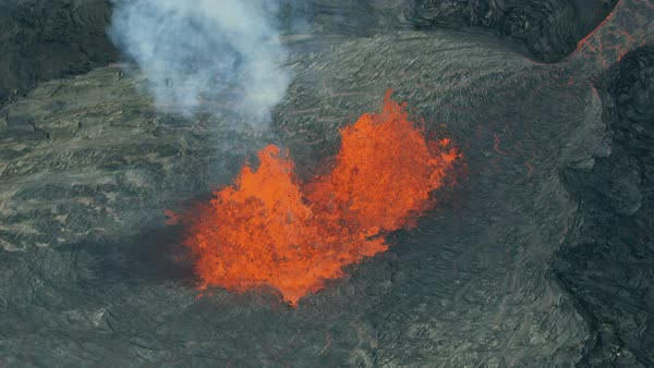 Aerial view fountains of boiling red hot magma erupting skywards from the  earths mantle with lava rock cooling and solidifying natural phenomenon