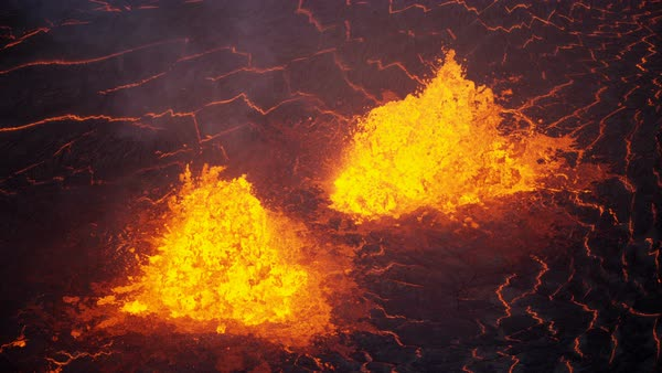 Aerial view boiling exploding magma a powerful active volcano a natural  seismic volcanic event erupting red hot lava from within the earth stock