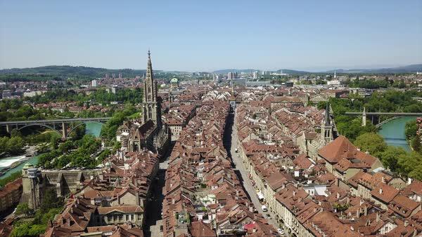 Bern city center traffic street sunny day riverside stock footage