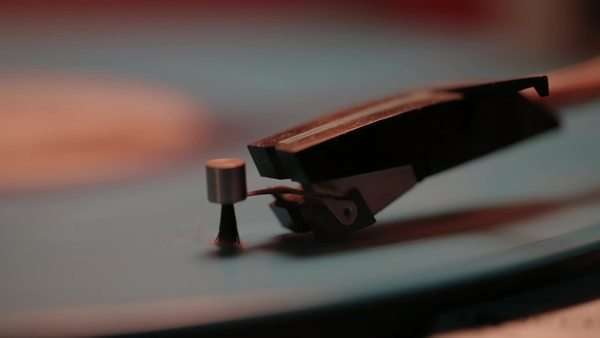 Extreme close-up of a vinyl record playing on a turntable Royalty-free stock video