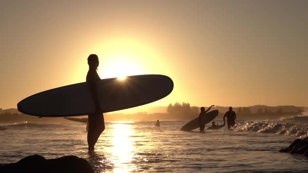 Slow Motion Silhouette Happy Young Surfer Girl Holding Longboard