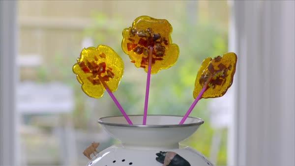 Medium shot of homemade lollipops stock footage