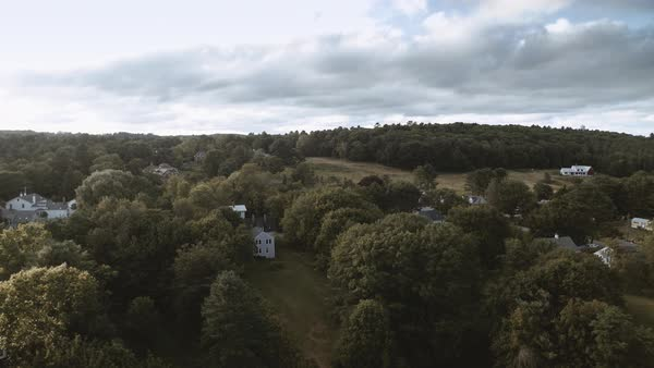 Aerial shot of a small town in Maine Royalty-free stock video