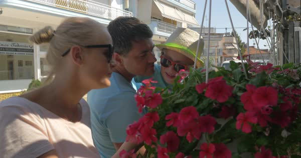 Young happy family snuff red flowers from beautiful hanging flower bed at summer sun day Piraeus, Greece Royalty-free stock video
