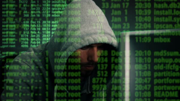 Close-up Mid Shot of a Hacker Wearing Hoodie Sitting at His Desktop Computer  With Coding Overlay Royalty-free stock video