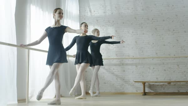 Long shot of three amazing young ballerinas doing morning stretching routine near barre Royalty-free stock video