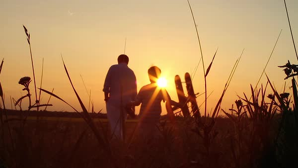 Father and son are walking with a model airplane in the field into the sunset Royalty-free stock video