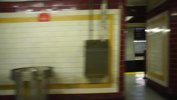 Medium wide shot of a metro station in Philadelphia, PA, USA Rights-managed stock video