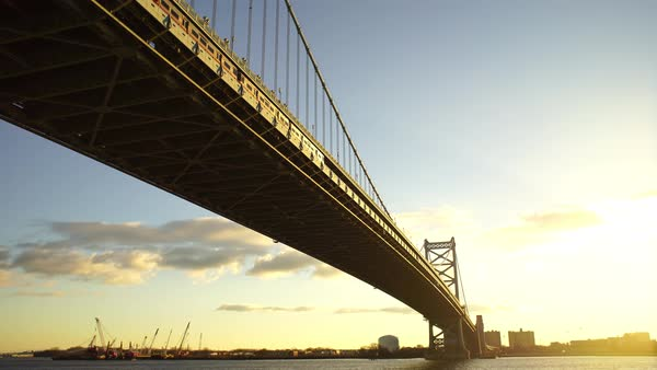 Wide shot of the Benjamin Franklin Bridge in Philadelphia, Pennsylvania, USA Rights-managed stock video