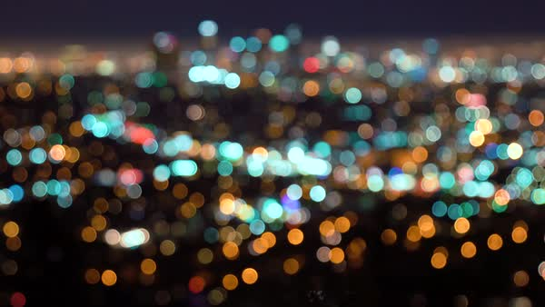 Rack focus of the Los Angeles skyline city lights at night Royalty-free stock video
