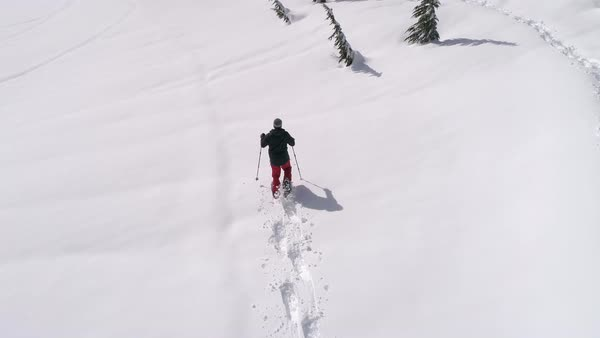 Drone Following Man Breaking Snowshoe Trail in Fresh Deep Powder Snow Royalty-free stock video