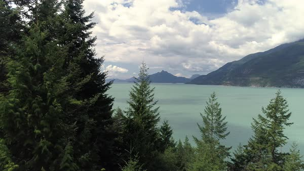 Dolly Across Trees to Turquoise Ocean Water with Mountain Islands in British Columbia Royalty-free stock video