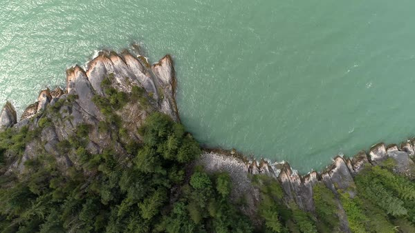 Overhead Aerial of Howe Sound Coastline with Turquoise Water Splashing Shore Royalty-free stock video