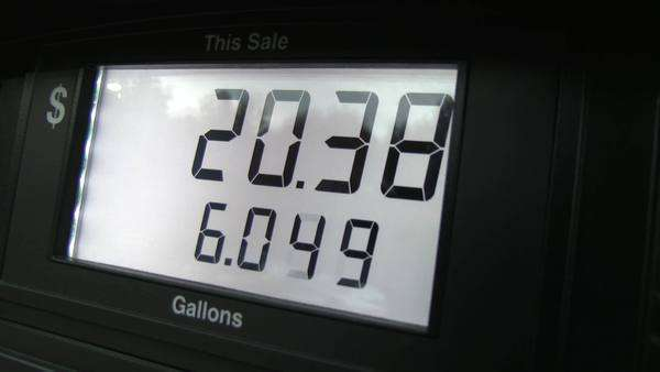 Handheld shot of the numbers on a gas pump Royalty-free stock video