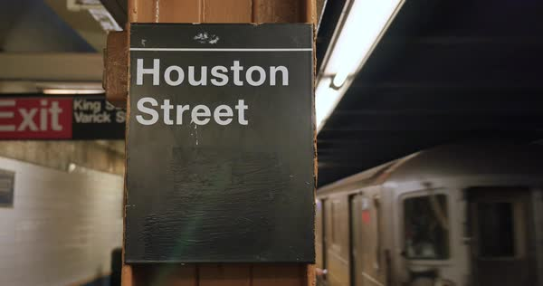 A Manhattan subway car arrives at the Houston Street station Royalty-free stock video