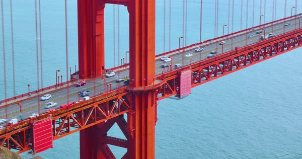 A high angle establishing shot of tourists and traffic on the Golden Gate Bridge. Royalty-free stock video