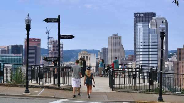 PITTSBURGH, PA - Circa August, 2014 - Tourists gather on an overlook on Mt. Washington to view the skyline of Pittsburgh, PA. Royalty-free stock video