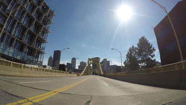 PITTSBURGH, PA - Circa October, 2014 - Driving over the Andy Warhol Bridge in Pittsburgh, Pennsylvania. Royalty-free stock video