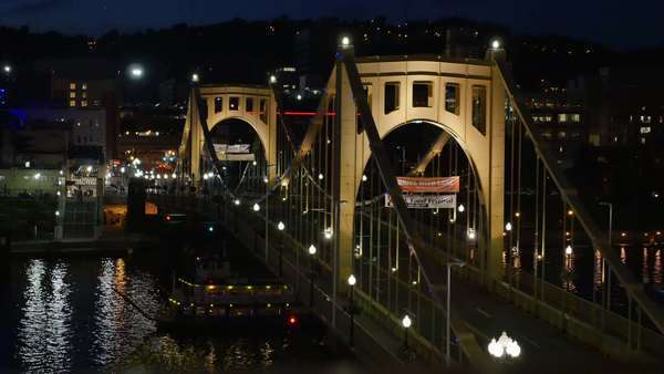 A nighttime shot of the Roberto Clemente Bridge in downtown Pittsburgh, Pennsylvania. Royalty-free stock video