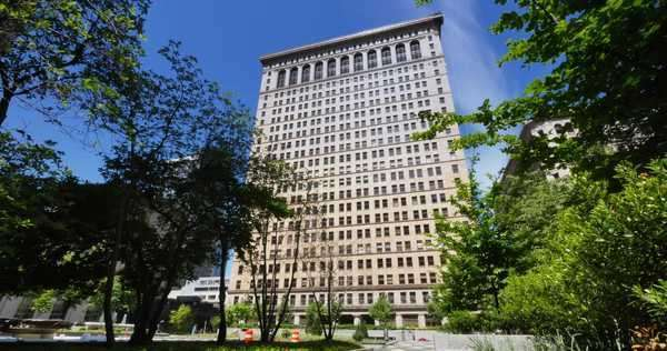 A daytime establishing shot of the Henry W Oliver Building in downtown Pittsburgh, PA. Royalty-free stock video