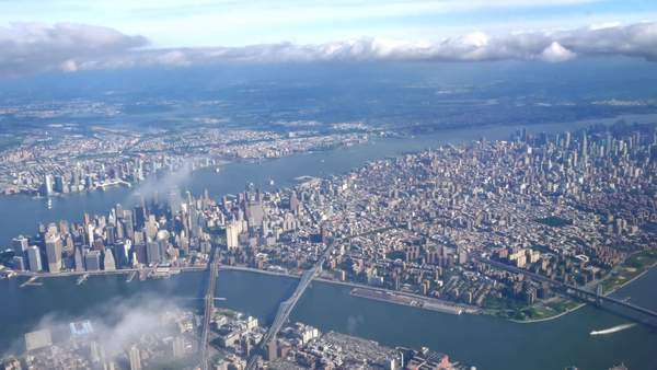 An aerial shot of midtown Manhattan during the day. Royalty-free stock video