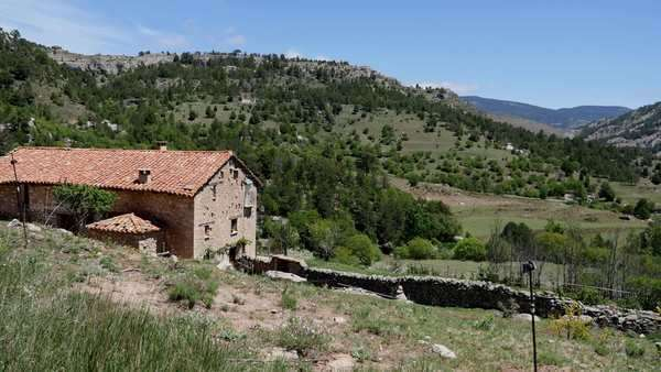 A stone house stands in a remote location in the Sierra de Gudar. Royalty-free stock video