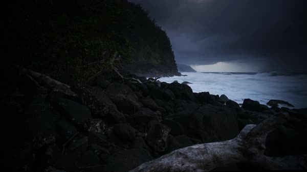 Dark stormy coastline sunset timelapse. Rights-managed stock video