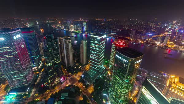 Shanghai cityscape night roof top arial panorama 4k time lapse china Royalty-free stock video