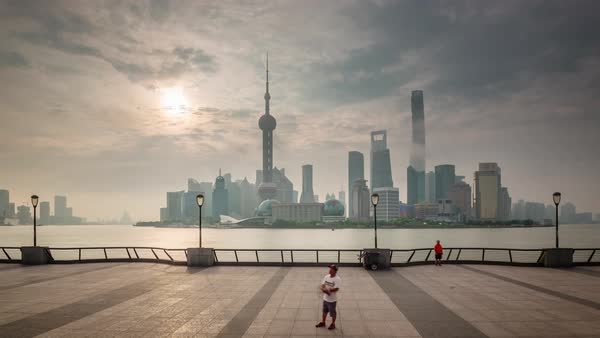 Shanghai sunset downtown bay panorama 4k time lapse china Royalty-free stock video