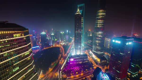 Night light shanghai city traffic road bay aerial panorama 4k time lapse china Royalty-free stock video