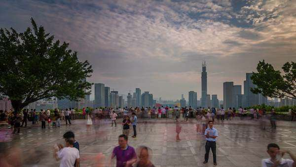 Shenzhen day light crowded panoramic view balcony, timelapse Royalty-free stock video