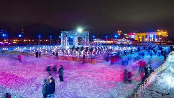 Evening light Moscow city Gorky park ice rink panorama timelapse, Russia Royalty-free stock video