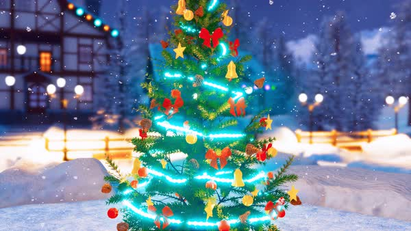 Outdoor Christmas Tree With Lights.Animated Close Up Of Outdoor Christmas Tree Decorated By Christmas Lights Garland And Baubles With Defocused Alpine Village On The Background At Snowy