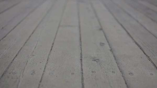 Wood deck tracking shot stock footage