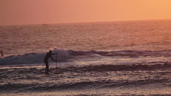 Wide shot of a man stand up paddle boarding in the ocean Royalty-free stock video