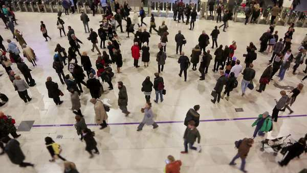 Commuters and tourists at Waterloo station in London Royalty-free stock video