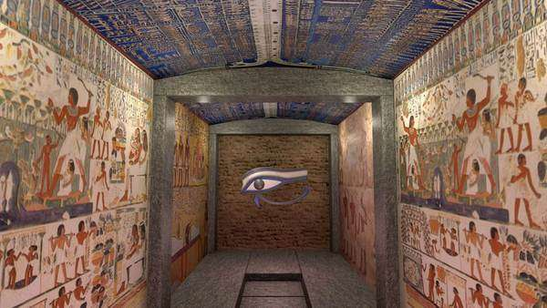 A 3D animation of a tomb in ancient Egypt. With wall paintings and ...