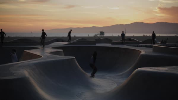 Venice Skate Park at sunset Royalty-free stock video
