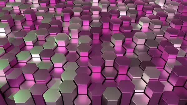 Animated hexagonal grid, seamless loop stock footage