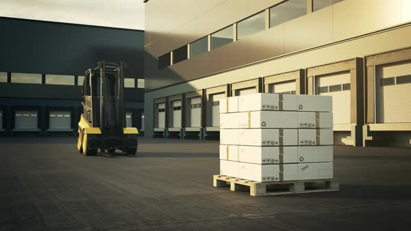 Forklift Truck Placing Stack Of Cardboard Boxes In Warehouse Royalty-free stock video