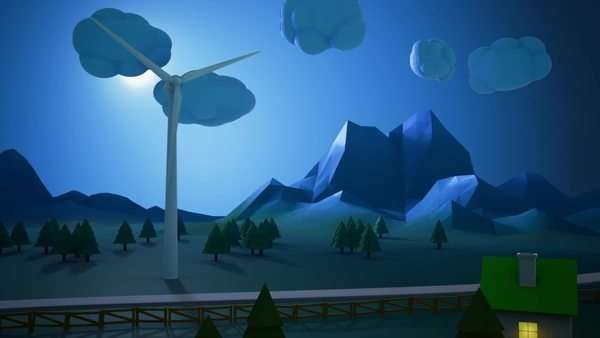 House receiving power generated from wind turbine during night Royalty-free stock video
