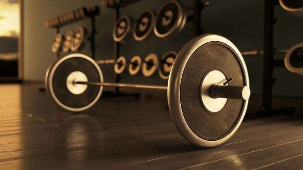 Barbell with weight set in modern fitness club Royalty-free stock video