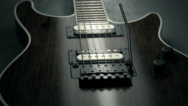 Details of six-string electric guitar Royalty-free stock video